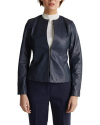 Esprit Collection 020eo1g314 Leather Jacket - Blue