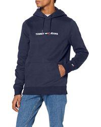 Tommy Hilfiger TJM Straight Small Logo Hoodie Sport Pullover - Blau
