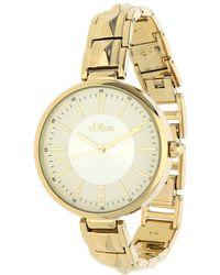 S.oliver Armbanduhr Analog Quarz IP Gold SO-15122-MQR - Mettallic