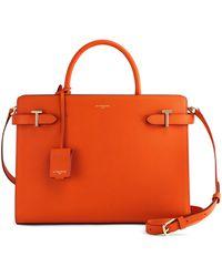 Le Tanneur Grand sac à main emilie en cuir femme. - Orange