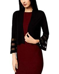 Calvin Klein - Open Knit Shrug With Illusion Bell Sleeve - Lyst