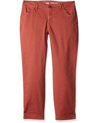 Lee Jeans - Eased Fit Embroidered Tailored Chino Ankle Pant - Lyst