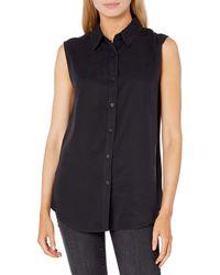 The Drop Allie Sleeveless Button Front Shirt - Black