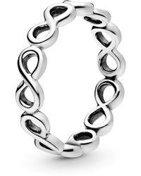 PANDORA Damen Ring Unendlichkeit in silber mit aneinander gereihten Undendlichkeissymbolen - Mettallic