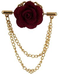 HIKARO Maroon Flower With Double Hanging Chain Lapel Pin - Purple