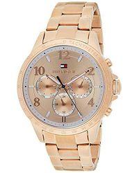 Tommy Hilfiger Reloj para mujer 1781642, mecanismo de cuarzo, diseño con varias esferas, correa de oro rosa. - Multicolor