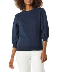 Amazon Essentials Sweat-Shirt à col Rond avec ches en Tissu éponge - Bleu