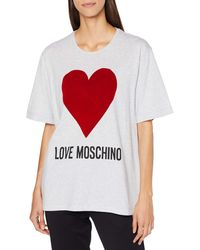 Love Moschino Logo And Heart Print_Short Sleeve T-Shirt, - Multicolore