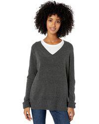 Goodthreads Mid-Gauge Stretch V-Neck Sweater Pullover - Gris