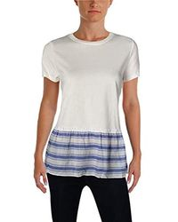 Ivanka Trump - Knit Short Sleeve Cotton Peplum Top - Lyst