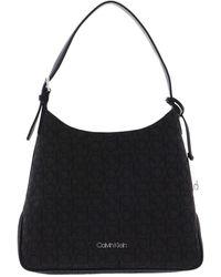Calvin Klein Hobo Bag Black Mono - Noir