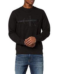 Calvin Klein Taping Through Monogram Cn Sweatshirt - Schwarz