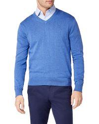 GANT Light Weight Cotton V-Neck Pullover - Blau