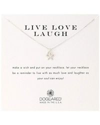 Dogeared - Live Love Laugh' Flower Charm Bead Sterling Silver Chain Necklace - Lyst