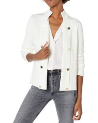 Calvin Klein Open Jumper Jacket With Buttons - White