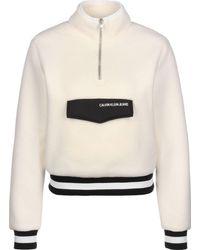 Calvin Klein Jeans Sherpa Half Zip Mock Neck Maglione - Bianco
