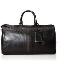 Tommy Hilfiger Business Leather Duffle Purse, Black, 25.5x28x51 Centimeters (b X H X T)