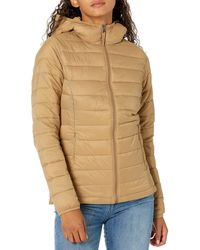 Amazon Essentials Lightweight Water-resistant Packable Hooded Puffer Jacket - Natural