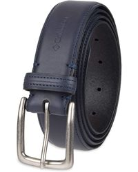 Columbia Casual Leather Belt-Jeans Khakis Dress Silver Prong Buckle - Blu
