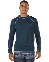 Speedo Upf 50+ Easy Long Sleeve Rashguard Swim Tee,new Navy,large - Blue