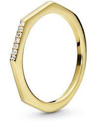 """PANDORA SHINE Ring """"Facettenreich"""" gelb-vergoldet 168343CZ-56 - Mettallic"""