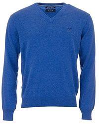 GANT Pullover LT. WEIGHT COTTON V-NECK, Einfarbig - Blau