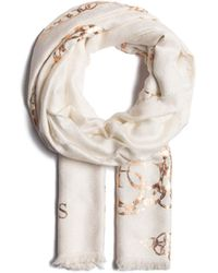 Guess Jacquard Scarf Ivory - Blanc