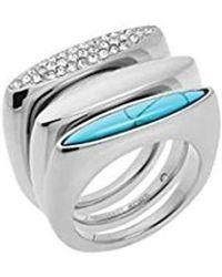 Michael Kors MKJ4513 MKJ4513040 Silver Stacking Ring Size 8 - Mettallic