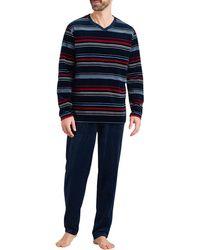Schiesser Schlafanzug lang Pyjamaset - Blau