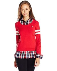 U.S. POLO ASSN. - Juniors' Plaid Twofer Pullover Sweater - Lyst