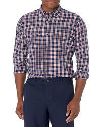 Amazon Essentials , Camicia in twill a manica lunga con due taschini, Uomo, Rosso - Blu