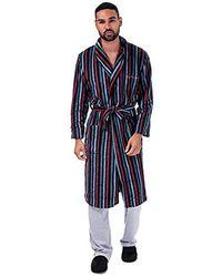 Ben Sherman S Becker Striped Dressing Gown- Stripe Detail Throughout- Shawl - Blue