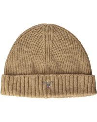 GANT O2. Wool Lined Knit Beanie - Natural