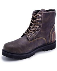 Nautica Daley Lace Up Formal Dress Casual Fashion Boots Oxford Combat-Daley-Dark Brown -10 - Marron