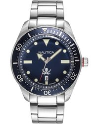 Nautica 'battery Park' Quartz Stainless Steel And Leather Casual Watch, Color:brown (model: Napbtp008) - Blue