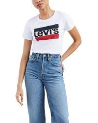 Levi's Perfect Graphic Tee Shirt Sportswear Logo White - Bianco