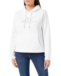 Calvin Klein Jeans Glossy Monogram Hoodie Sudadera con Capucha - Blanco