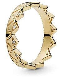 PANDORA Exotic Crown 18k Gold Plated Shine Collection Ring - 168033CZ - Metallizzato