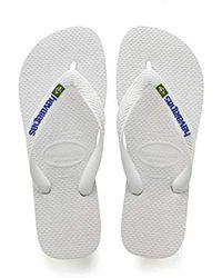 Havaianas - White Brasil Logo Flip Flops - Lyst