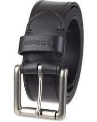 Columbia Classic Logo Belt Dress With Single Prong Buckle For Jeans Khakis - Black