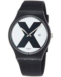 Swatch Erwachsene Analog Quarz Uhr mit Silikon Armband SUOB402 - Mehrfarbig