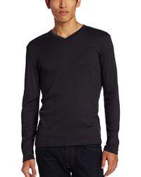 Calvin Klein - Long Sleeve Ribbed V-neck T-shirt - Lyst