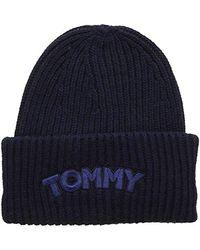 Tommy Hilfiger Logo Patch Beanie, Bonnet - Bleu