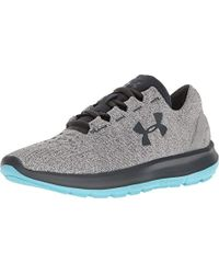 Under Armour Speedform Slingride Tri Running Shoe, Overcast Glacier Gray/marlin Blue