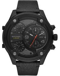 DIESEL Chronographe Quartz Montre avec Bracelet en Cuir DZ7415 - Noir