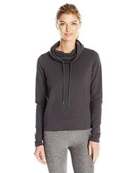 Steve Madden - Funnel Neck Pullover With Open Back And Vegan Leather Accents - Lyst