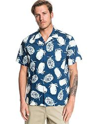 Quiksilver Pineapple Web Short Sleeve Woven Top - Blue