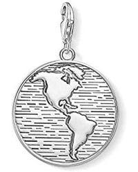 Thomas Sabo Pendentif Charm médaille Monde Argent Sterling 925, Noirci 1713-637-21 - Multicolore