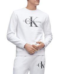 Calvin Klein Monogram Logo Crew Neck Sweatshirt Shirt - White