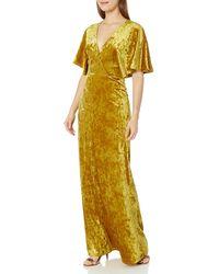 BCBGeneration Crushed Velvet Maxi Dress - Yellow